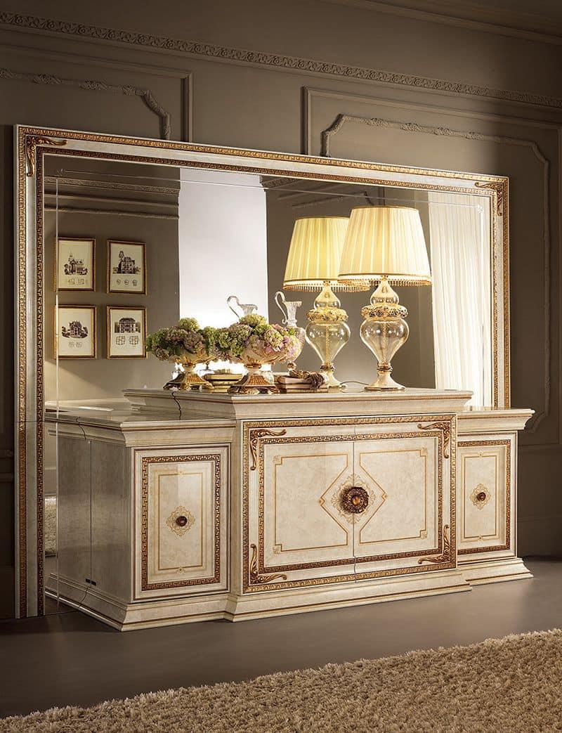 Leonardo buffet, Classic buffet, finished in gold leaf, 4 doors