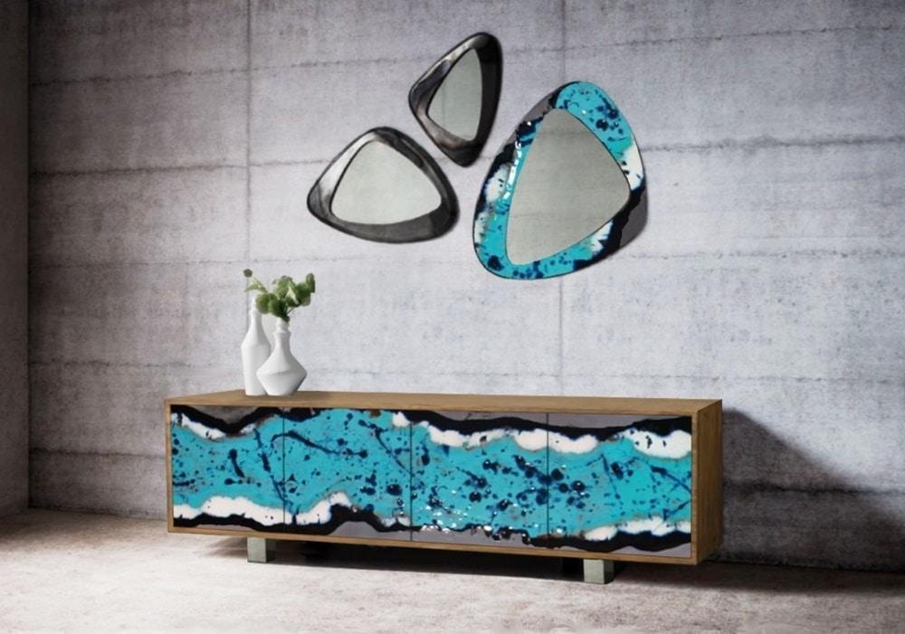 Life Oceanside sideboard, Elegant sideboard with lava stone doors