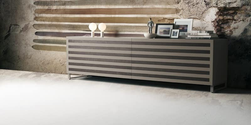 Line, Wood sideboard with 2 sliding doors, walnut inserts