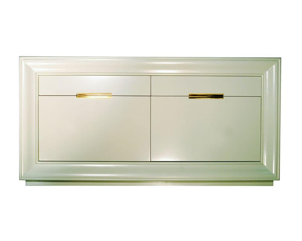 Louvre CH.0001, Walnut sideboard with 2 doors and 2 drawers, classic style