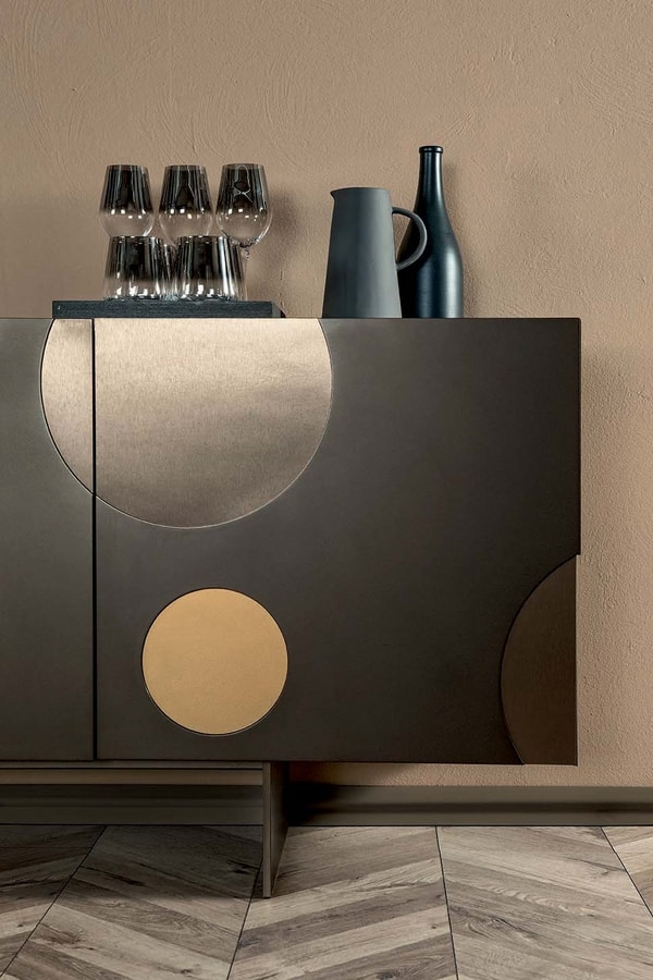 MATISSE  programma, Cabinets in lacquered MDF with translucent decorations and metal base