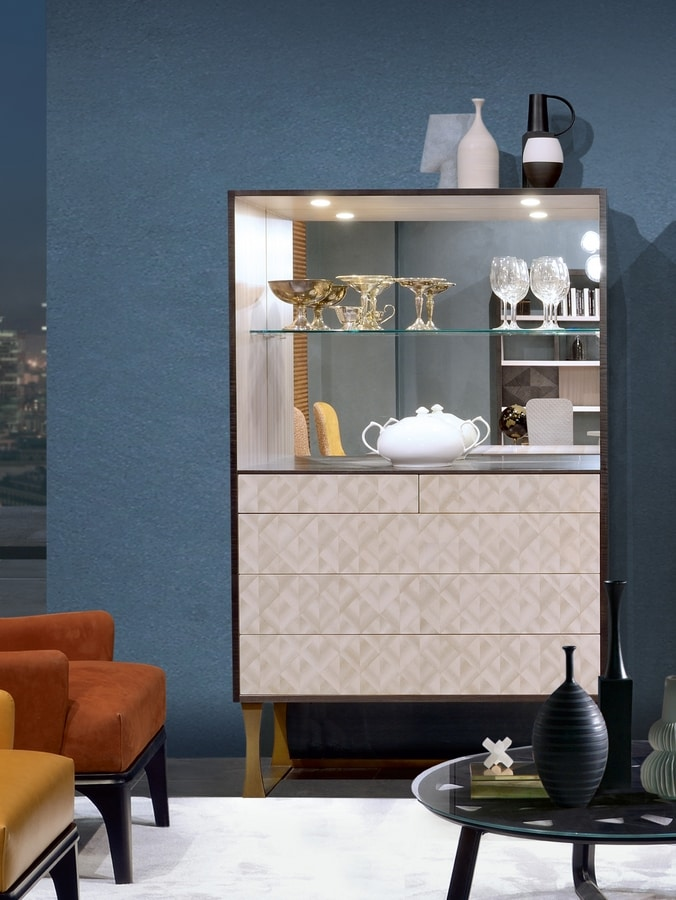 MB66 Square sideboard, Sideboard with mirrored back