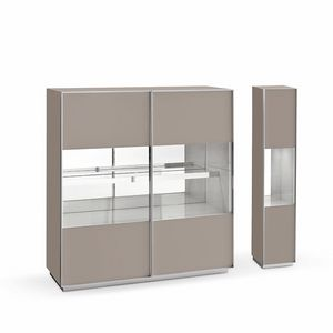 Miss A, Design sideboard, in glass and aluminum, for living room