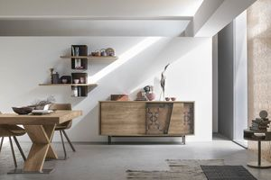MODUS MA108, Modern cupboard in laminate and decorated metal inserts