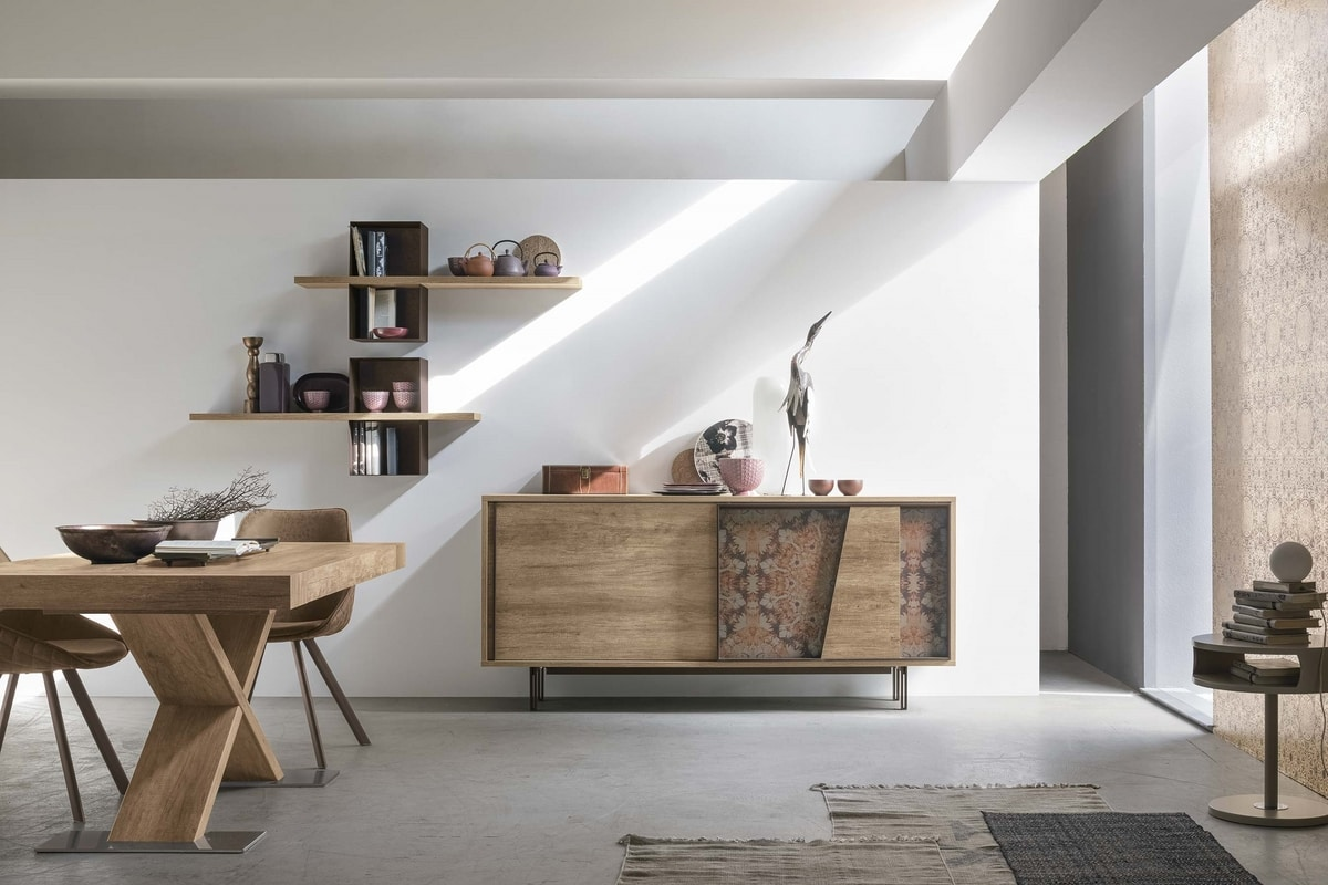 MODUS MA108, Modern cupboard in laminate and decorated metal inserts
