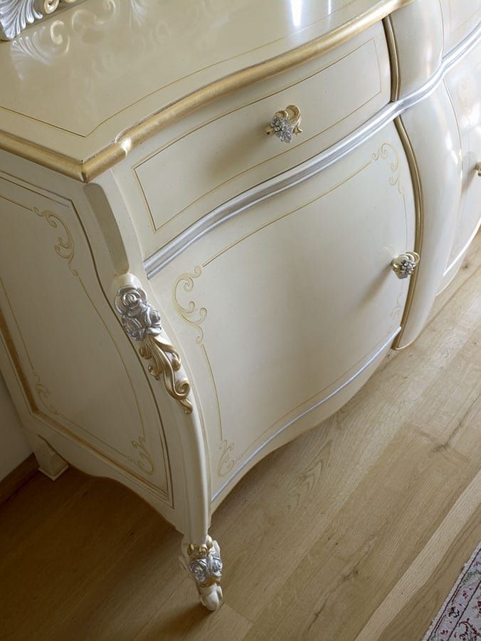 Olga cupboard, Classic sideboard with ivory lacquers