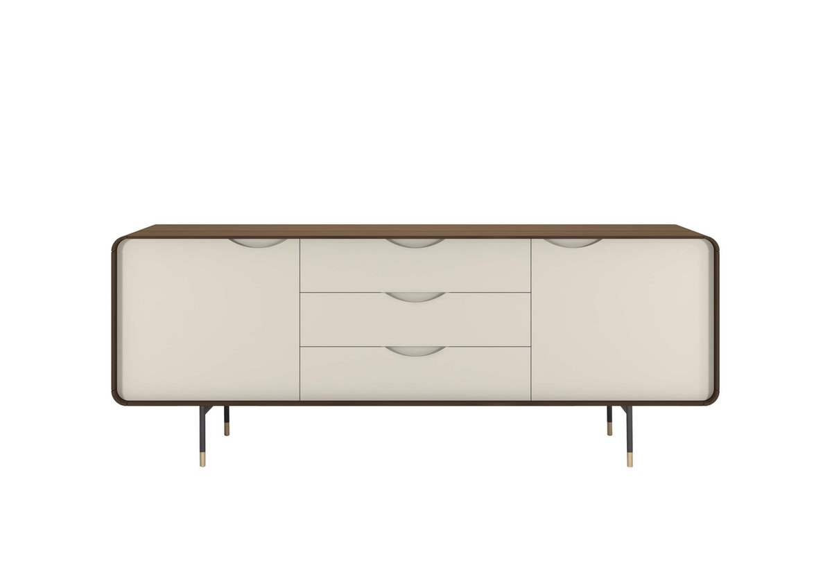 OPERA, Walnut sideboard with lacquered doors and drawers and metal base