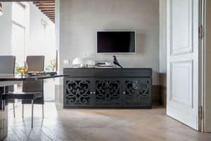 PARIS sideboard, Cupboard in laminate perforated and lacquered, glass shelves