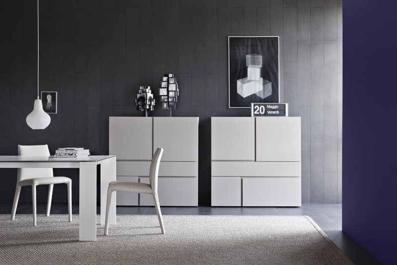 Quadra, Cabinet for living rooms with drawers without handles