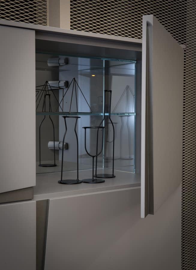 VELA cupboard comp.01, Cupboard with doors and drawers, original handle
