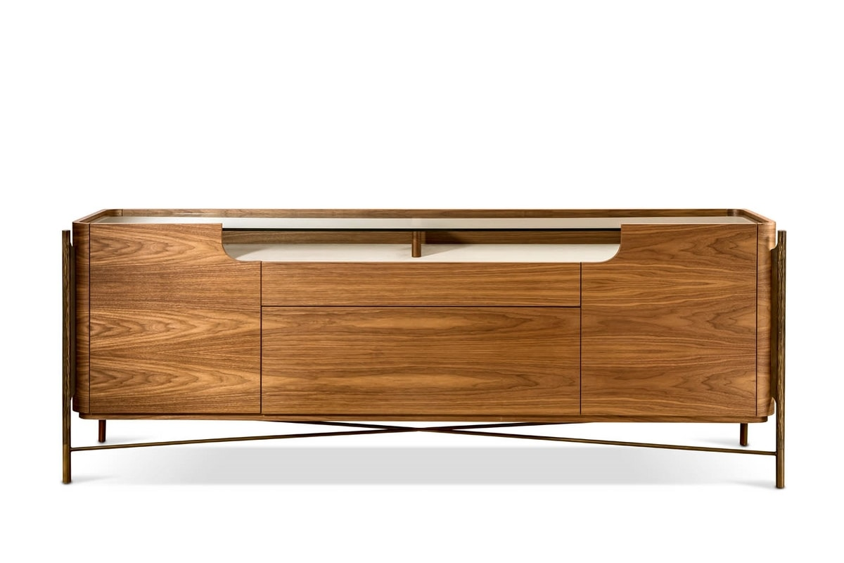Shangai sideboard wood, Wooden sideboard with glass top