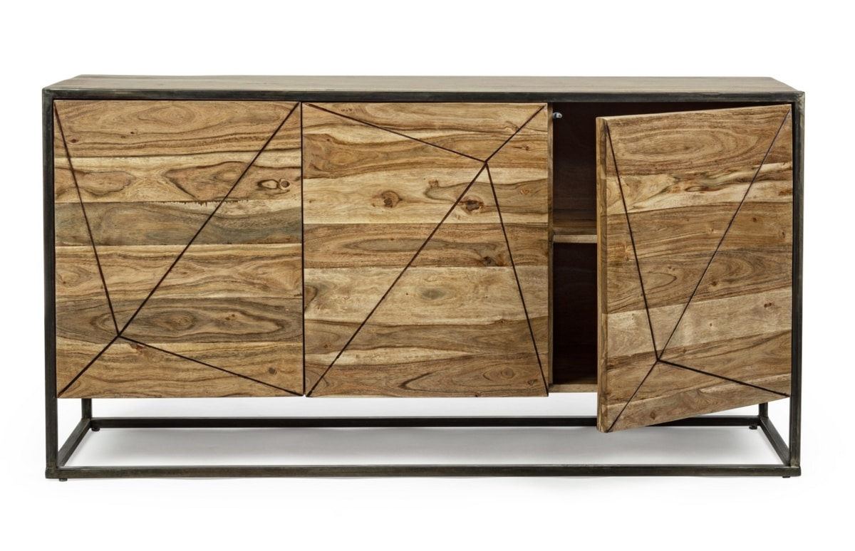 Sideboard 3A Egon, Sideboard with 3 doors in wood and steel