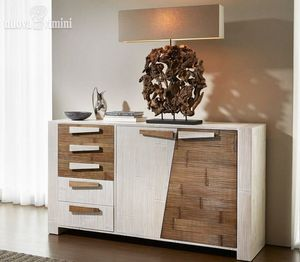 Sideboard Crash Bambu Miring, Two-color sideboard for ethnic funishing