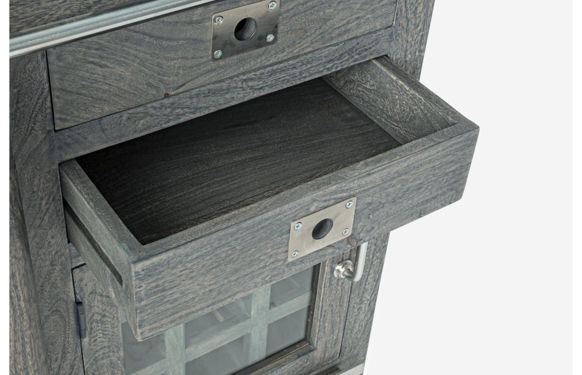 Sideboard with bottle rack Jupiter grey, Vintage sideboard with bottle holder