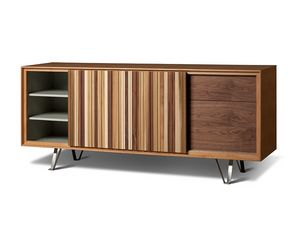 Sipario 1707, Wooden sideboard with sliding door