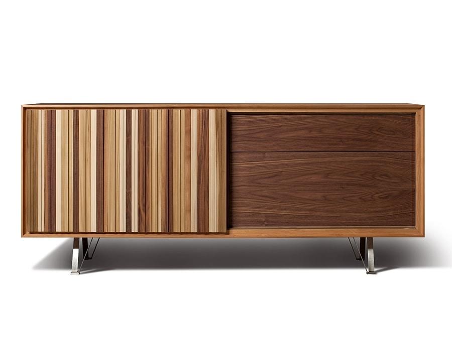 Sipario 1707, Wooden sideboard with sliding door