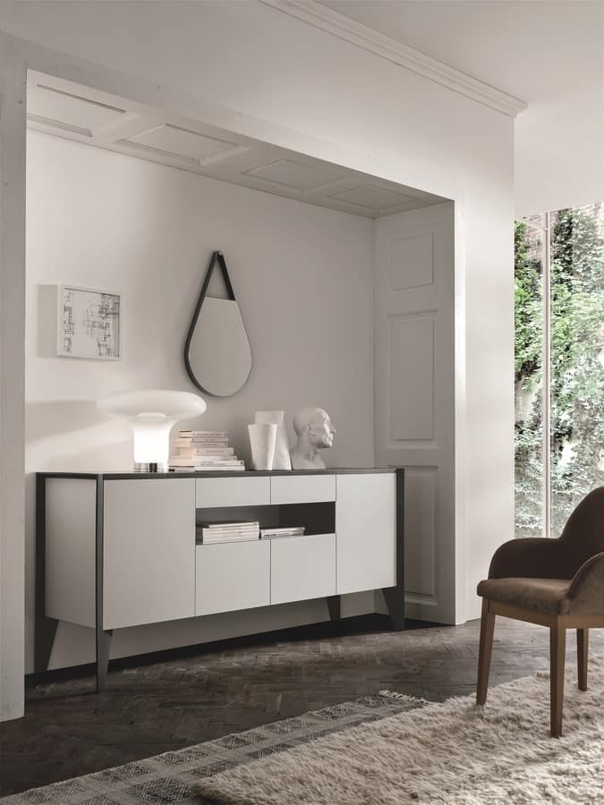 STRATOS MA107, Sideboard with 4 doors and 2 central drawers, in laminate