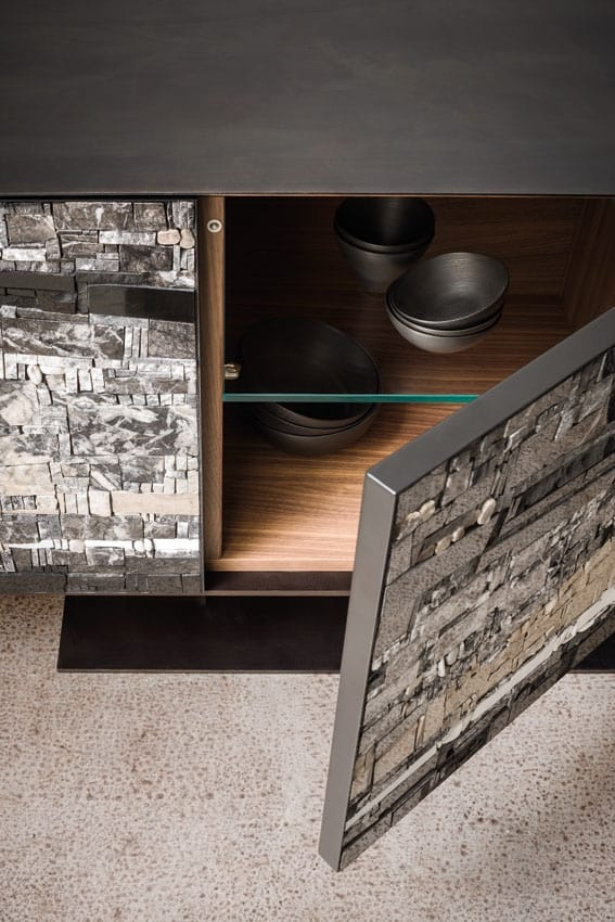 Stratos, Sideboard with doors in mosaic of stones and ceramics
