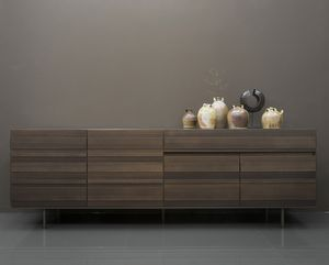 STRIPE sideboard, Sideboard with some raised stripes tone on tone