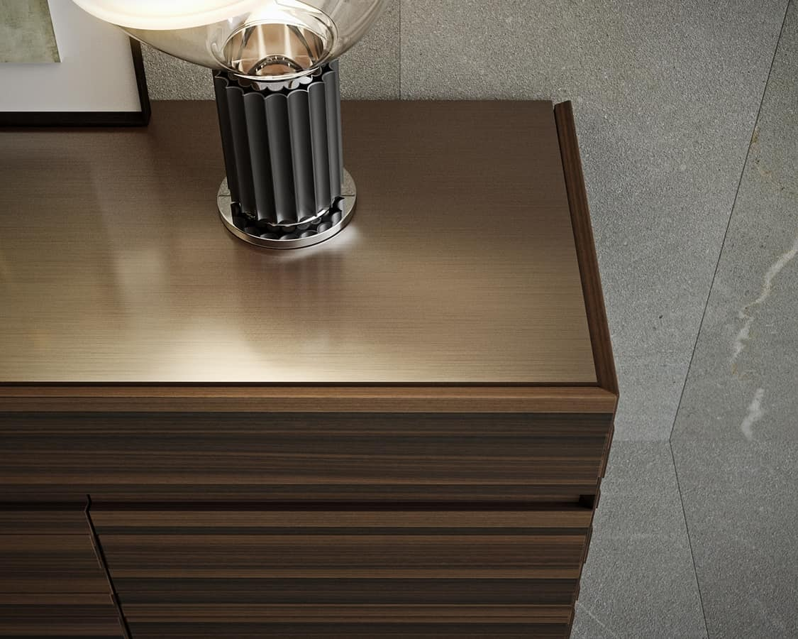 STRIPE sideboard comp.01, Sideboard with some raised stripes tone on tone