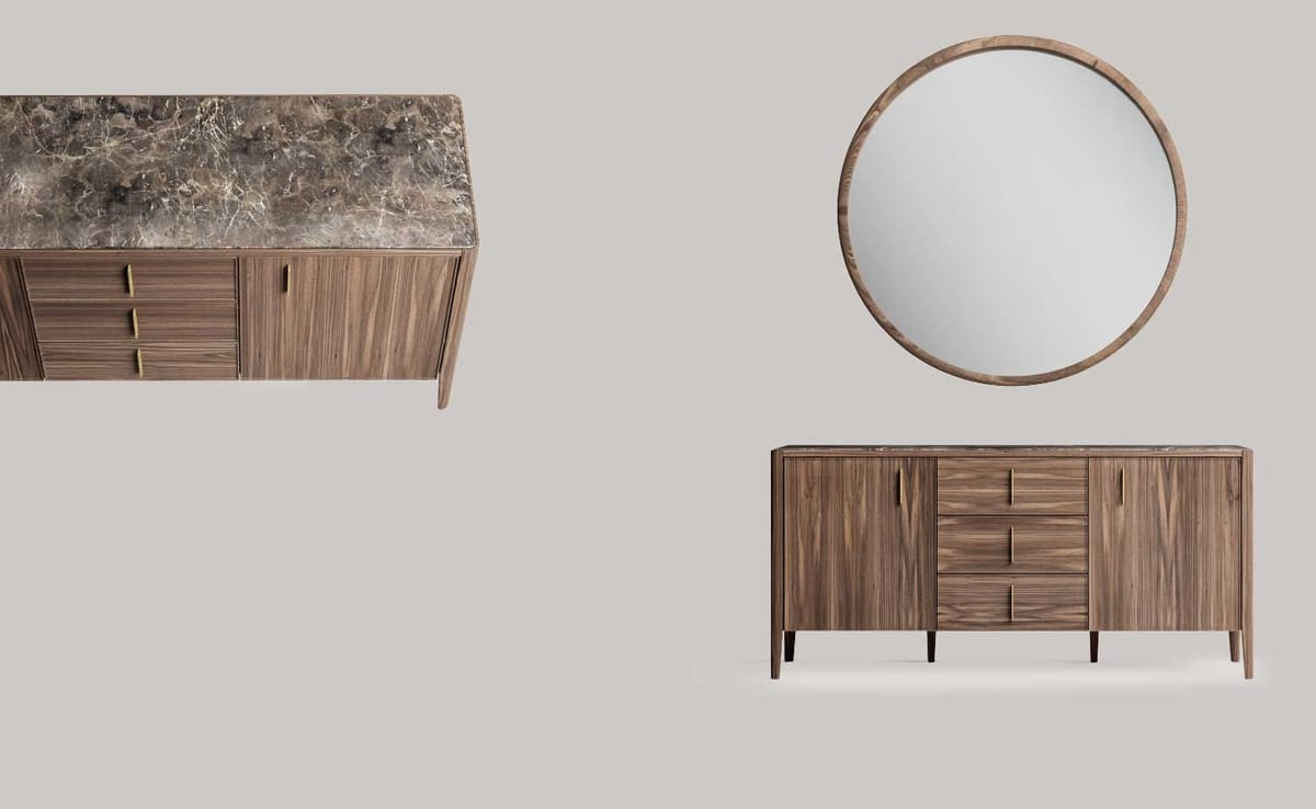 Sunrise sideboard, Modern sideboard with marble top
