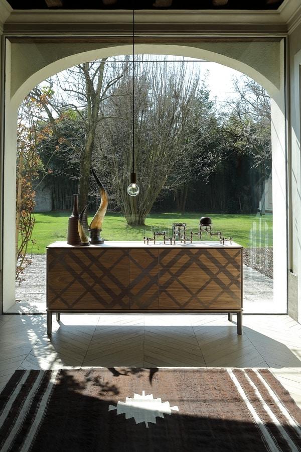TARTAN, Sideboard in wood and metal