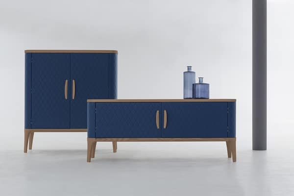 TIFFANY, Wooden sideboard with leather upholstery