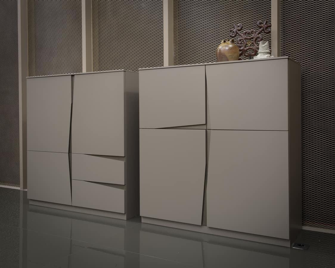 VELA cupboard comp.02, Four-door cupboard, with characteristic oblique cut