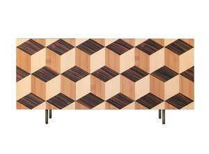 Veronese 1709, Sideboard with perspective cubic inlay