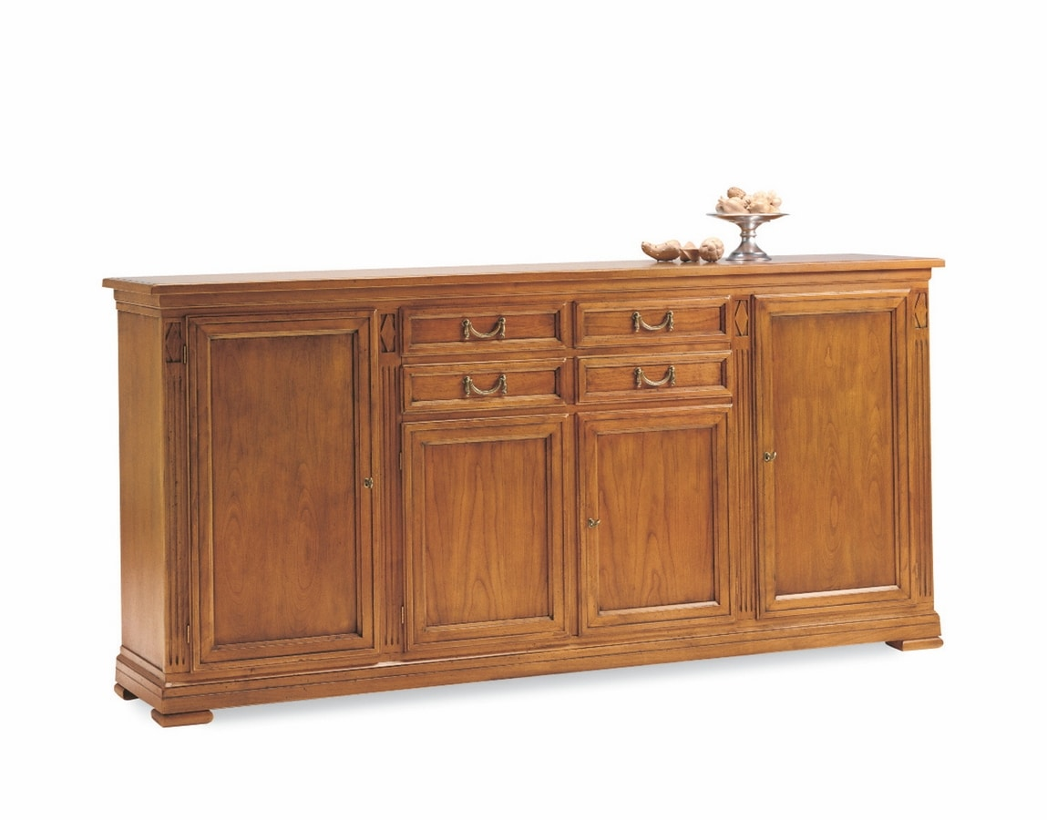 Villa Borghese sideboard 7371, Wooden sideboard, with doors and drawers