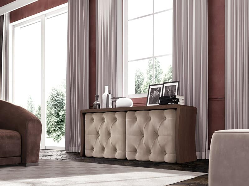 Wall Street sideboard, Cupboard with cushioned quilted doors, for classic lounges