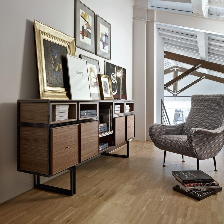Wallis W009G, Modular sideboard, in metal and wood