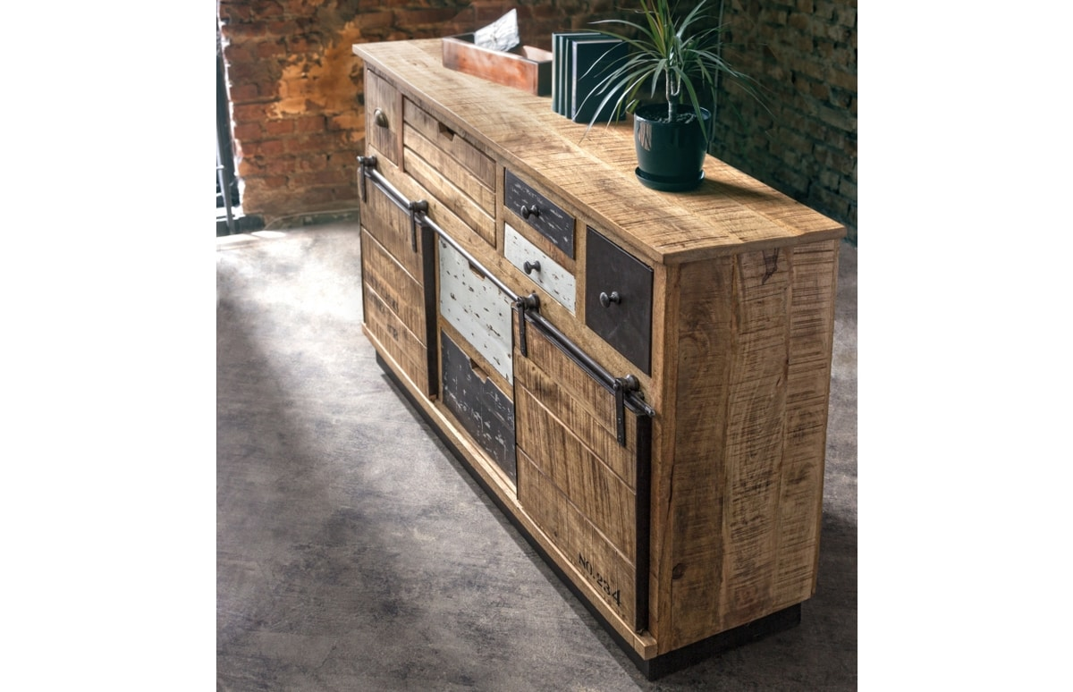 Sideboard 2A-7C Tudor, Country style sideboard with sliding doors