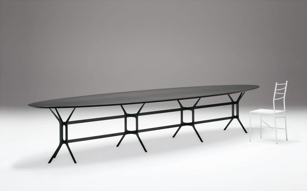 Arabesque, System of modular tables, in laser cut metal