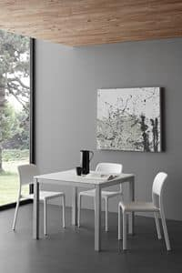 Art. 635 QD Majestic Quadro, Kitchen table in wood and metal, in modern style