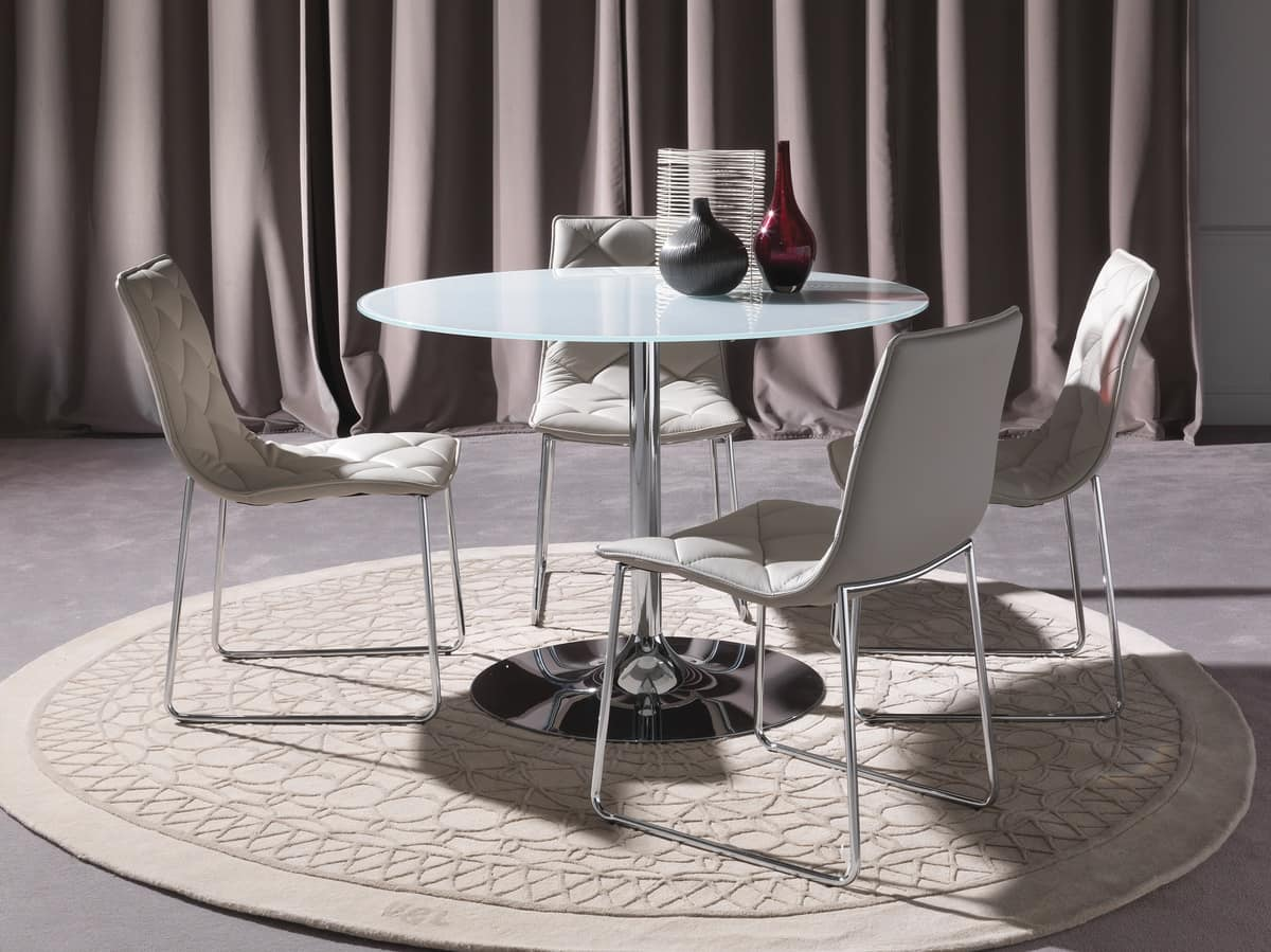 Art. 641/2 Armony, Round table with clear top and round metal base