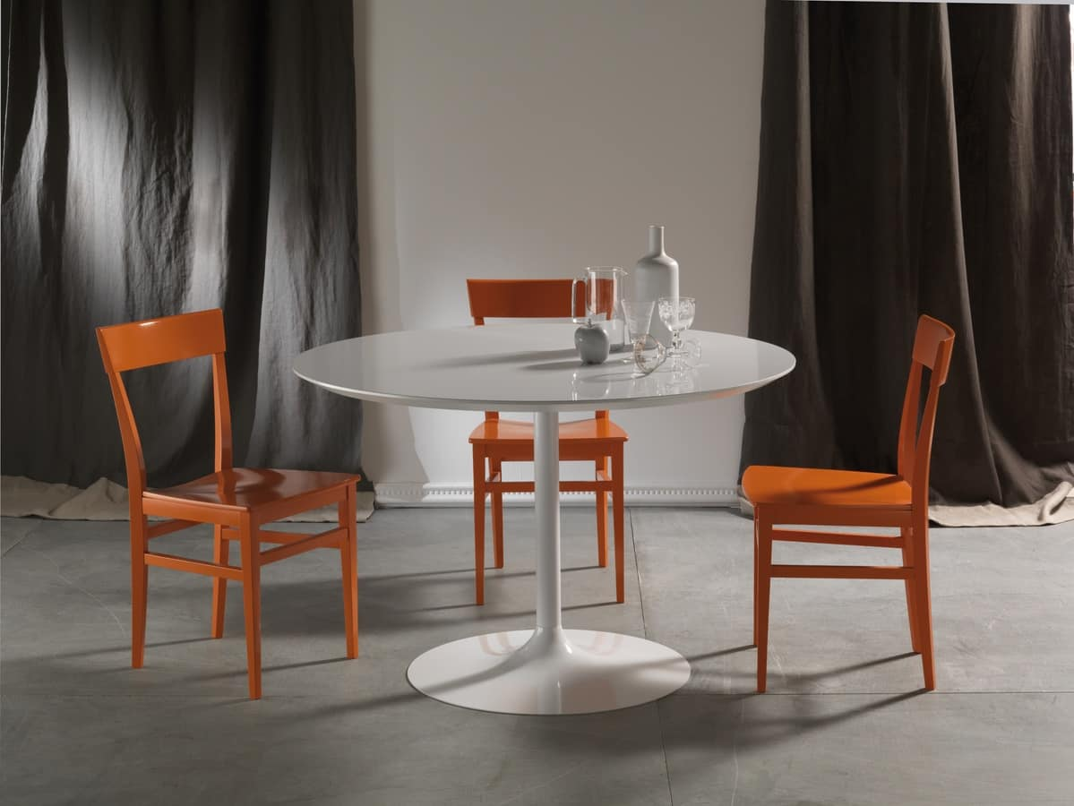 Art. 641/5 Max, Round wooden table, with round metal base
