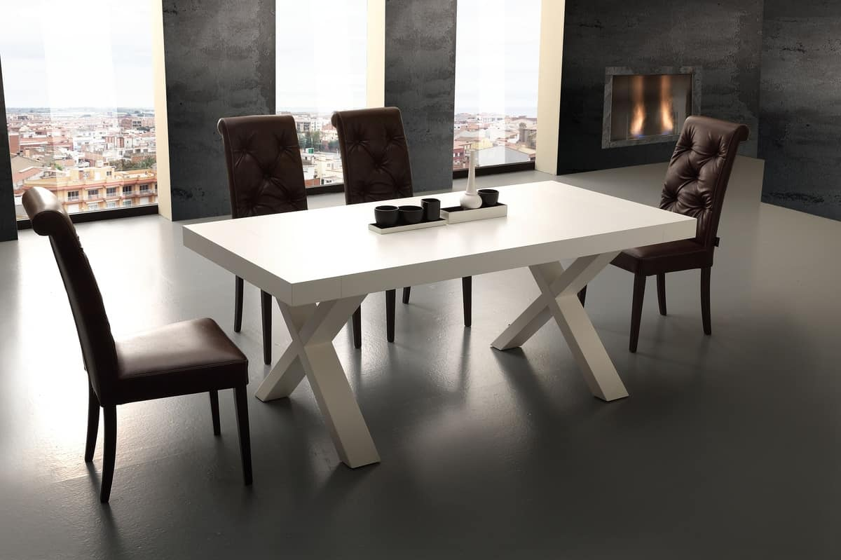 Art. 703 Galileo, Extendable table in melamine wood, for kitchen
