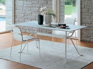 Domino, Rectangular table with glass, for linear kitchen
