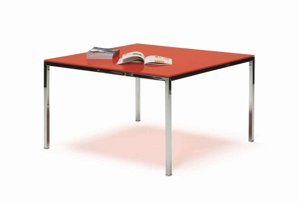 Ernesto Ice Kitchen, Metal table, chromed or lacquered finish, ideal for modern kitchens