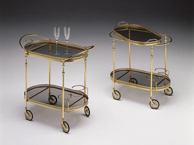 BOHEME 115, Trolley for hotels, polished brass frame, glass tops
