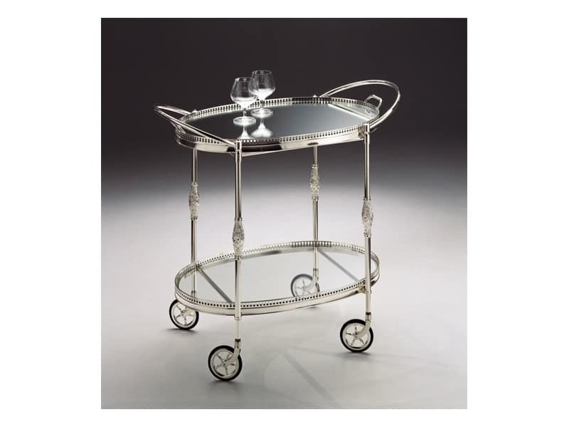 BOHEME 121, Trolley in silver plated brass, removable tray