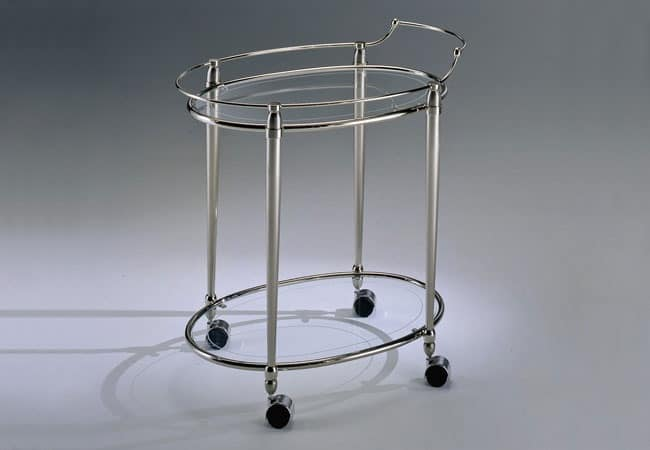 CARTESIO 200, Food trolley in satin brass and nickel