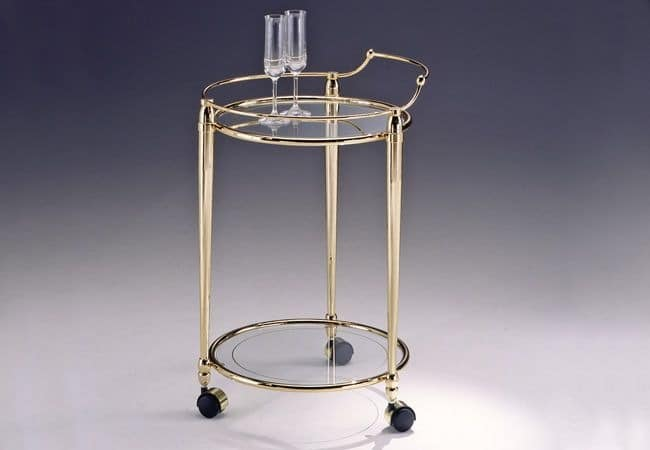CARTESIO 275, Round brass trolley, glass top for living room