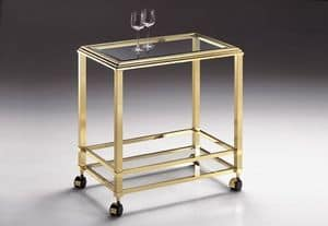 DOMUS 2176, Satin brass trolley, with wheels, for hotels