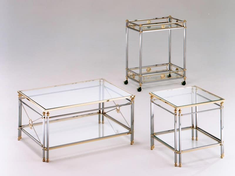 Empire trolley, Cart in steel and brass, tempered glass top