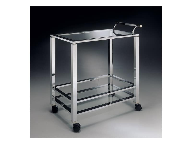 MADISON 3276 , Trolley for kitchen in chrome-plated brass, glass top