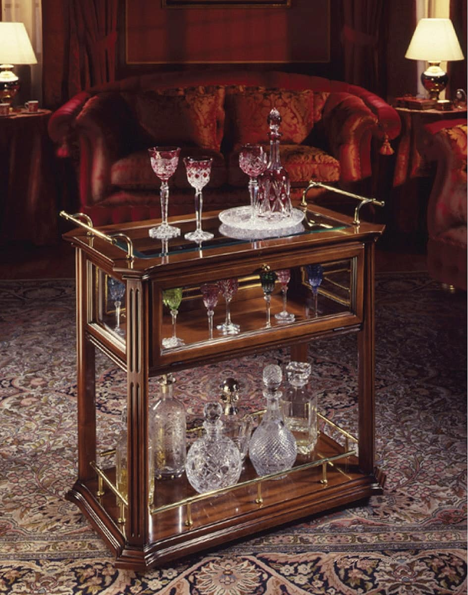 Oxford Art.507 bar trolley, Bar trolley in walnut, with wooden and crystal shelves