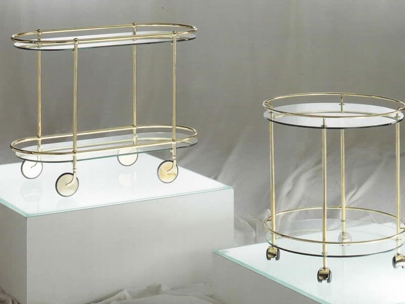Oval metal cart with wheels, glass top | IDFdesign