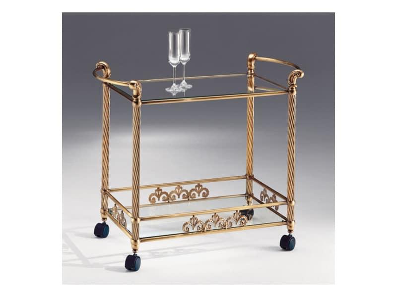 VIVALDI 1077 , Trolley in antique bronze brass, top in glass